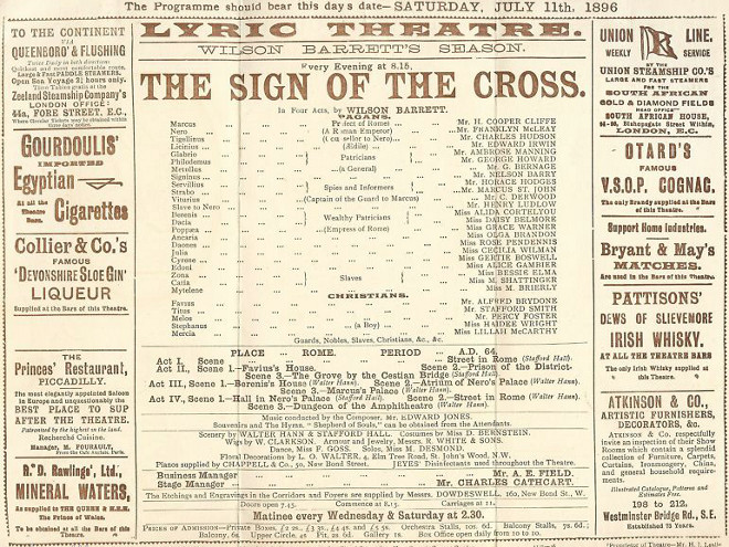 1896 The Sign of the Cross Lyric Theatre
