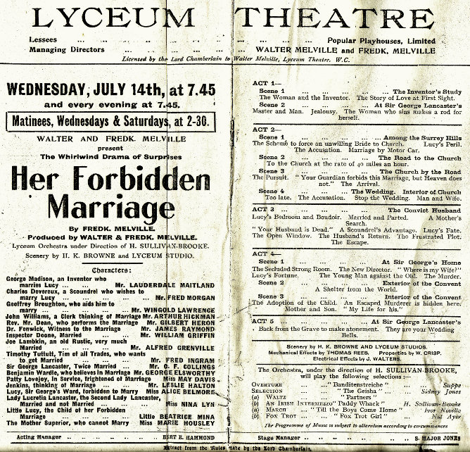 Alice Belmore and Gilbert Heron at the Lycium in 'Her Forbidden Marriage'