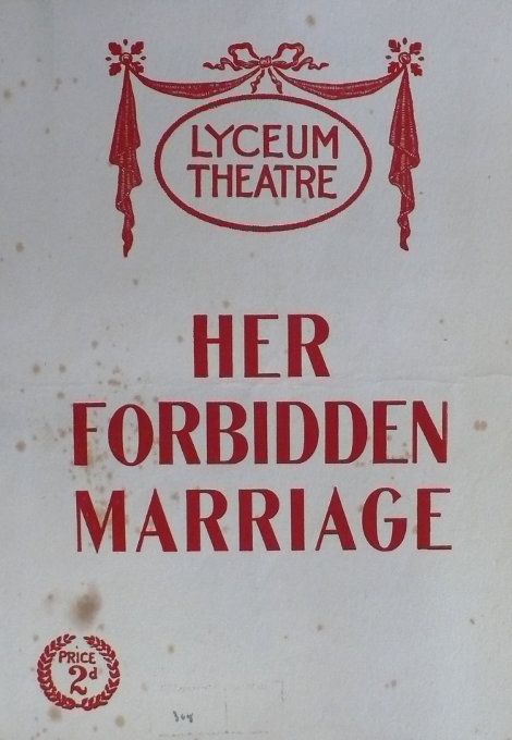 Alice Belmore and Gilbert Heron in Her Forbidden Marriage at The Lyceum