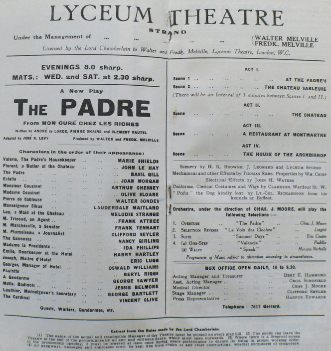 jessie belmore the padre 1926 programme