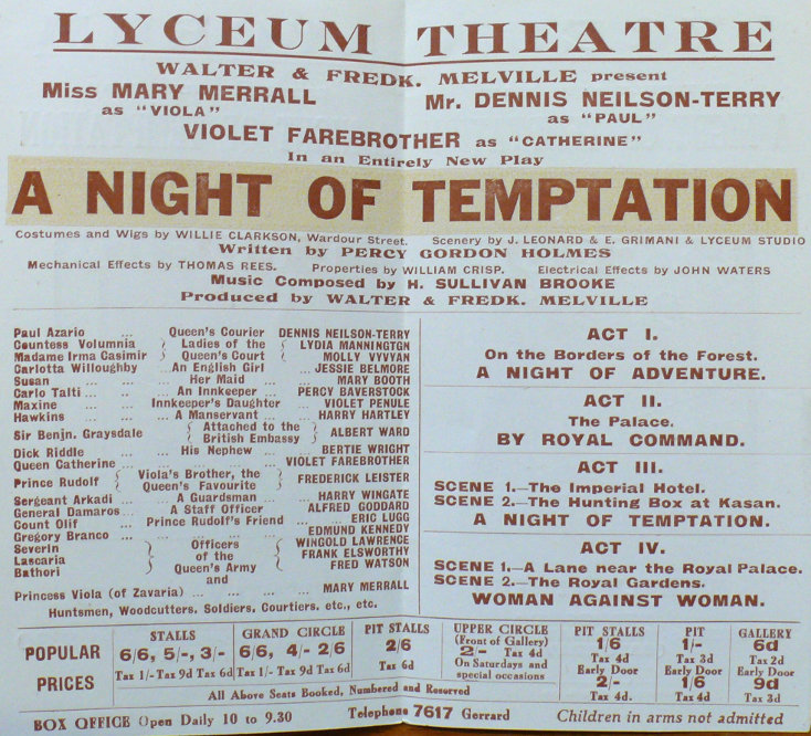 jessie belmore in a night of temptation april june 1923 handbill