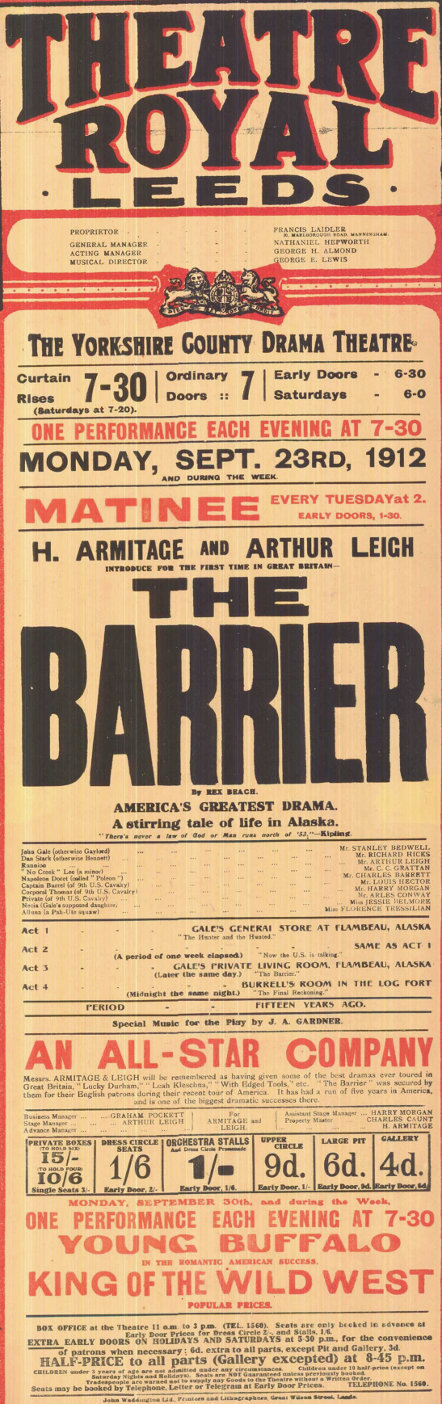 jessie belmore in the barrier at the theatre royal leeds 23 sept 1912
