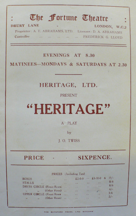 jessie george belmore in heritage at the fortune theatre may 1933 written by j o twiss