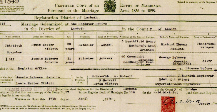 jessie niblett marriage certificate