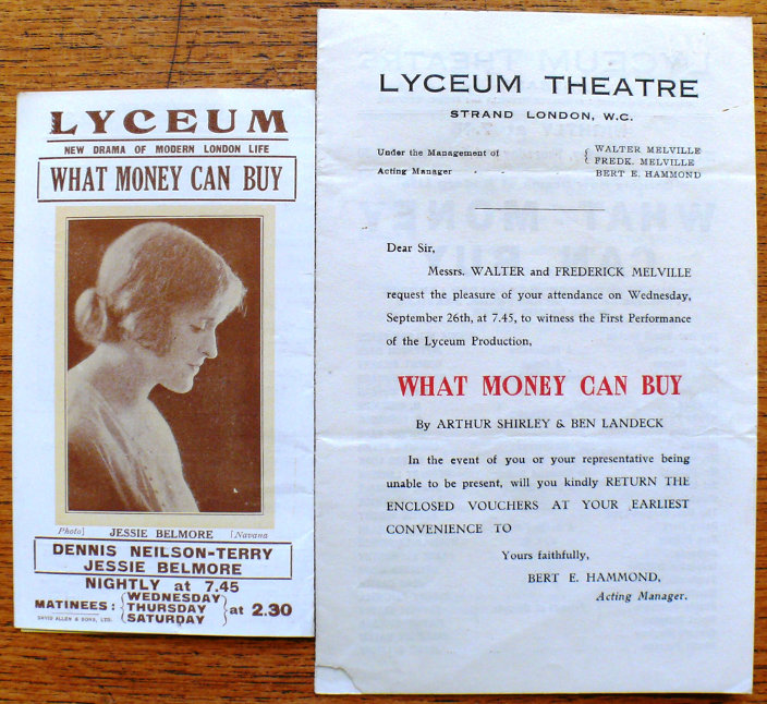what money can buy fortune theatre programme handbill 1923
