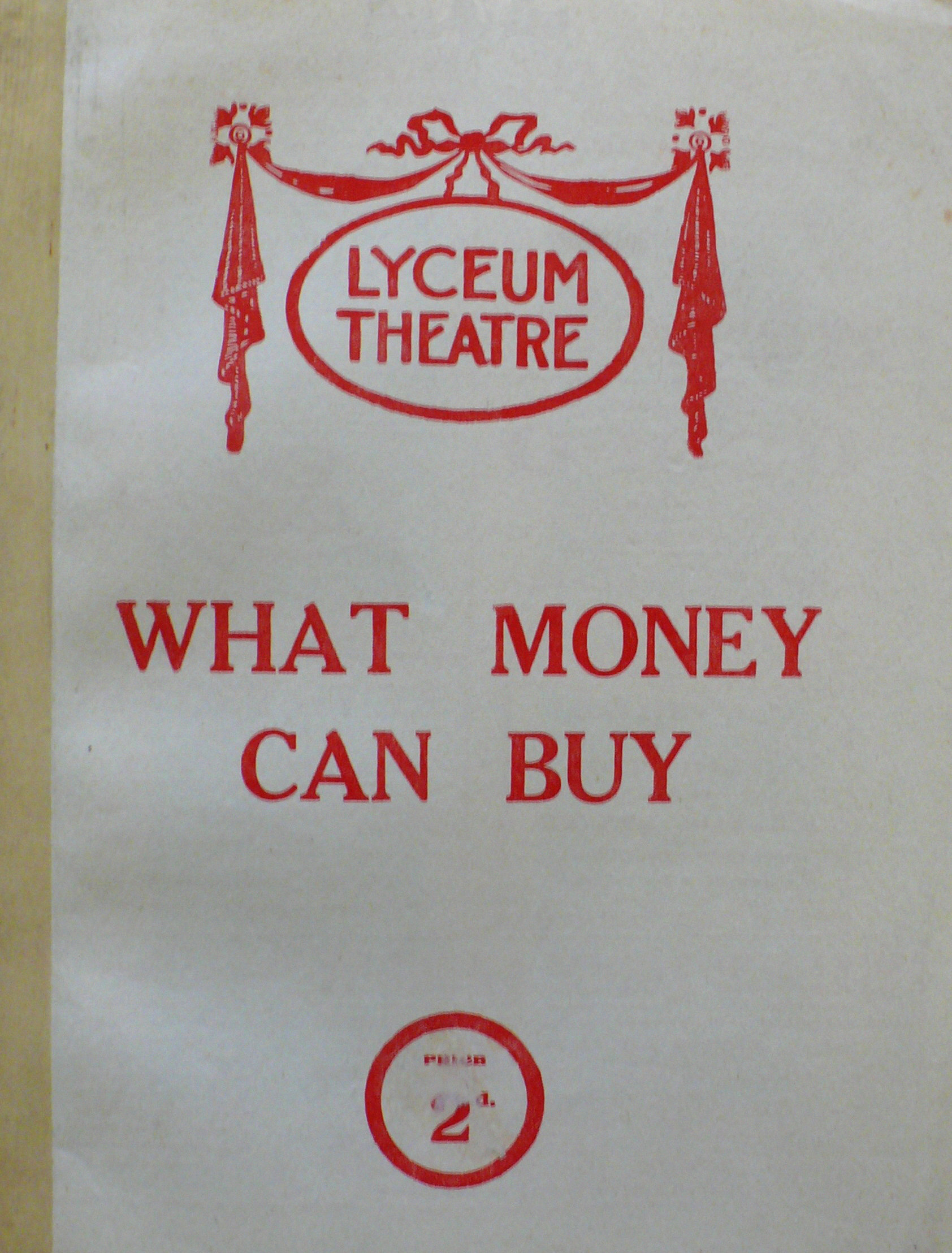 what money can buy programme front cover 1923