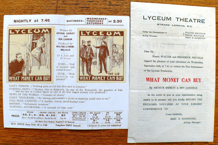 what money can buy the fortune theatre programme handbill 1923